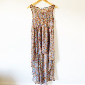 {preloved} Sheer Floral High/Low Tunic